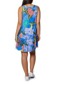 Caribbean Joe Ruffle Bottom Dress - Blue Coral - Back