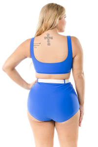 CaCelin Ultra High Waist Bikini Swimsuit - Plus - Royal - Back