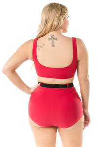 CaCelin Ultra High Waist Bikini Swimsuit - Plus - Red - Back