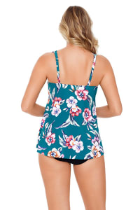 Vintage Floral Women High - Low Tankini Top  - Plus - Teal - Back