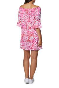 Caribbean Joe Ruffle Off Shoulder Dress - Hot Pink - Back
