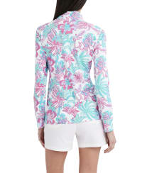 Stella Parker Kennedy 3-4 Sleeve Zip Front Pullover - Dreamy Jungle - Back