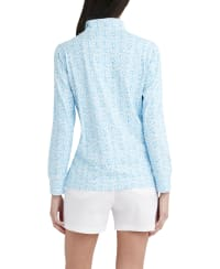 Stella Parker Kennedy 3-4 Sleeve Zip Front Pullover - Mermaid Scale - Back