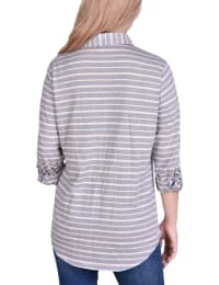 3/4 Sleeve Roll Tab Striped Jacquard Blouse - Back