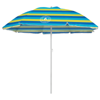 Caribbean Joe 6 ft. Beach Umbrella with UV - Blue / Yellow - Back