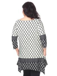 Aicha 3/4 Sleeve Tunic Top - Plus - Back