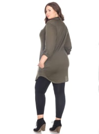 Stretchy Roll-Tab Sleeve Knit Tunic Top - Plus - Back