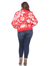 Gold Zipper Floral Bomber Jacket - Plus - Red - Back