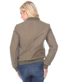 Long Sleeve Front Zipper Bomber Jacket - Back