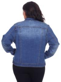 Six Button Soft Denim Jacket - Plus - Back