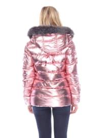 Metallic Puffer Hooded Coat - Back