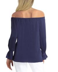 Gigi Parker Long Sleeve Convertible Off The Shoulder Top - Back