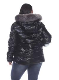 Hooded Metallic Puffer Coat - Plus - Black - Back