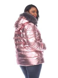 Hooded Metallic Puffer Coat - Plus - Pink - Back