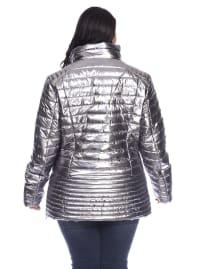 Lightweight Front Zipper Metallic Puffer Coat - Plus - Back