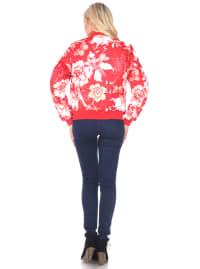 Ribbed Trim Floral Bomber Jacket - Back