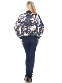 Ribbed Trim Floral Bomber Jacket - Black - Back