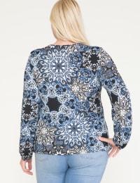 Westport Medallion Print Knit Top - Plus - Navy - Back
