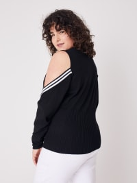 Sporty Cold Shoulder Sweater - Plus - Back