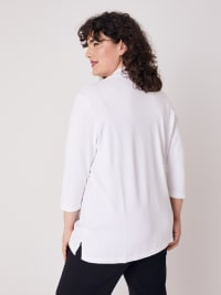 Roz & Ali 3/4 Sleeve Scallop Trim Cardigan - Plus - Bright White - Back