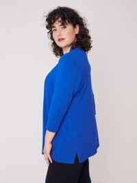 Roz & Ali 3/4 Sleeve Scallop Trim Cardigan - Plus - Capri Blue - Back