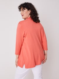 Roz & Ali 3/4 Sleeve Scallop Trim Cardigan - Plus - Coral Dusk - Back