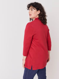 Roz & Ali 3/4 Sleeve Scallop Trim Cardigan - Plus - Rose Red - Back