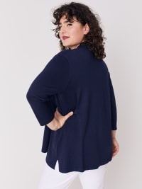 Roz & Ali 3/4 Sleeve Scallop Trim Cardigan - Plus - Shipshape Navy - Back
