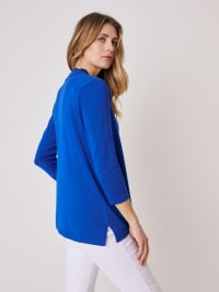 Roz & Ali 3/4 Sleeve Scallop Trim Cardigan - Capri Blue - Back