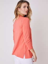 Roz & Ali 3/4 Sleeve Scallop Trim Cardigan - Coral Dusk - Back
