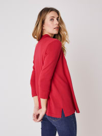 Roz & Ali 3/4 Sleeve Scallop Trim Cardigan - Rose Red - Back