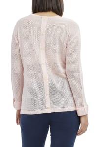 Caribbean Joe Faux Button Beach Sweater - Pink - Back