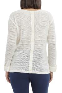 Caribbean Joe Faux Button Beach Sweater - White - Back