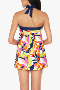 Caribbean Joe Abstract Floral Swimdress - Midnight - Back