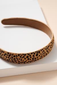 Animal Print Calf Hair Head Band - Cheetah Brown - Back