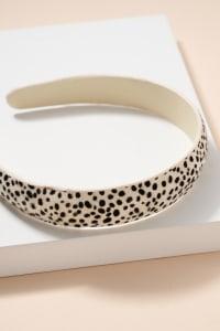 Animal Print Calf Hair Head Band - Cheetah White - Back