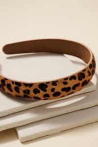 Animal Print Calf Hair Head Band - Leopard Brown - Back