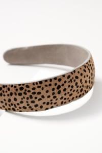 Animal Print Calf Hair Head Band - Cheetah Grey - Back