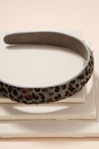 Animal Print Calf Hair Head Band - Leopard Grey - Back