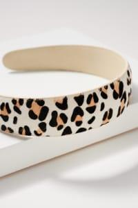 Animal Print Calf Hair Head Band - Leopard White - Back