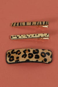 Set of 3 Animal Print Leather Hair Clips - Leopard Brown - Back