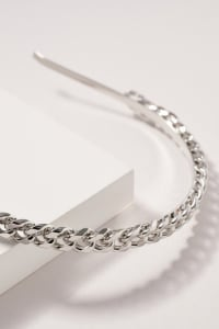 Chain Linked Headband - Rhodium - Back