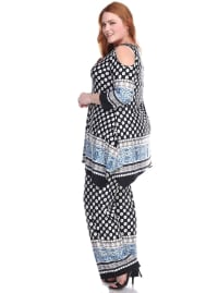 3/4 Sleeve Printed Head to Toe Lounge Set - Plus - Black Dots - Back