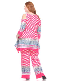 3/4 Sleeve Printed Head to Toe Lounge Set - Plus - Pink Dots - Back