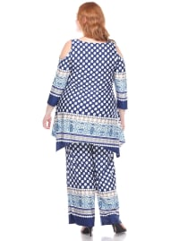 3/4 Sleeve Printed Head to Toe Lounge Set - Plus - Navy Dots - Back