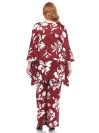 Stretchy Head to Toe Printed Full Set - Plus - Burgundy Flowers - Back