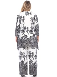 Paisley Printed Head to Toe Palazzo Sleepwear Set - Plus - Beige / Charcoal - Back