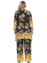 Paisley Printed Head to Toe Palazzo Sleepwear Set - Plus - Black / Gold - Back