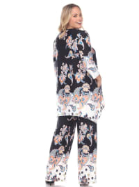 Paisley Printed Head to Toe Palazzo Sleepwear Set - Plus - Black / White - Back