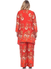 Paisley Printed Head to Toe Palazzo Sleepwear Set - Plus - Red / White - Back